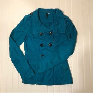 H&M blue double breasted pea coat